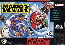 Mario's Time Machine is an edutainment title developed by Radical Entertainment that was released for the SNES and PC in December 1993; it was later released on the NES on April 23, 1994. It is meant to teach younger players basic world history and is the last Mario Discovery Series game before discontinuation. It is worthy to note that this is the only game in the Mario series in which Mario as a protagonist has full lines of dialogue.