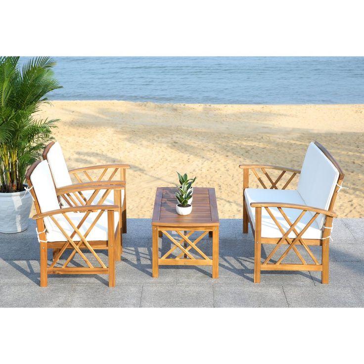 Safavieh Fontana Wood 4 Piece Outdoor Conversation Set ... on Safavieh Fontana Patio Set id=44743