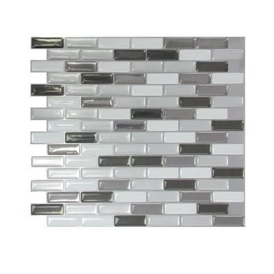 Really like this if we are keeping our white cabinets. 9-1/8 in. x 10-1/4 in. Multi-Colored Murano Mosaic Peel and Stick Tile