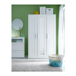 IKEA - BRIMNES, Wardrobe with 3 doors, white, , Of course your home should be a safe place for the entire family. That's why hardware is included so that you can attach the chest of drawers to the wall.The mirror door can be placed on the left side, right side or in the middle.A mirrored door saves space, no need to take up room on the wall or floor with a separate mirror.Adjustable shelves make it easy to customize the space according to your needs.If you want to organize inside, you can…