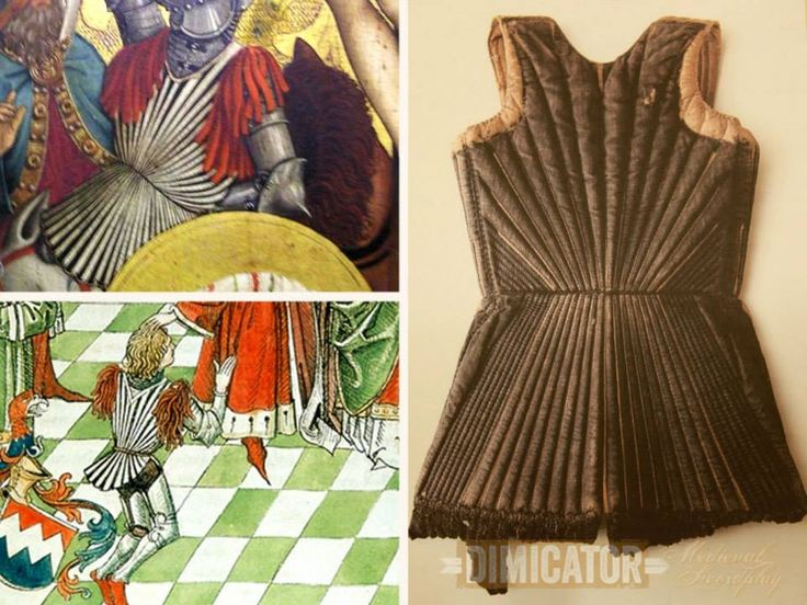 Period art suggests that the garment dates to the second quarter of the 15th century ( … okay, would have been the last days of Fiore at best!). It is one of two such extant examples of almost identical make that may have been kept in the city armoury. The second piece is on public display in the Lübeck Holsten Gate Museum. A third one from Stendal appears to have been lost, probably during or after WW II. Only an old photograph of it remains.
