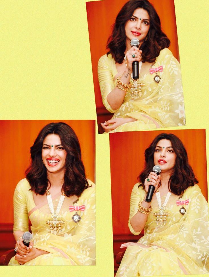 Priyanka Chopra in yellow saree