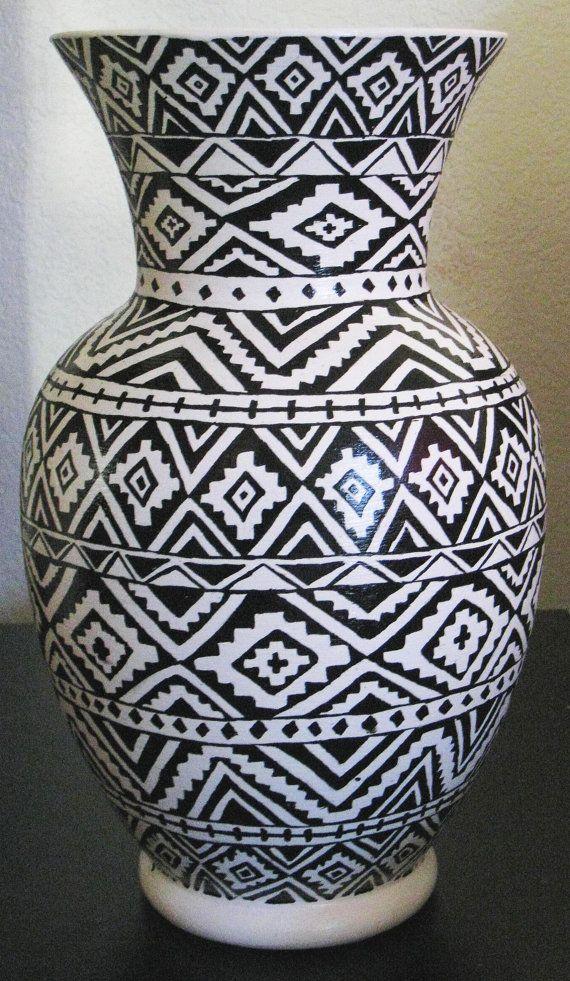 Hand Painted Fijian Tribal Print Vase by Noelanis (inspiration)