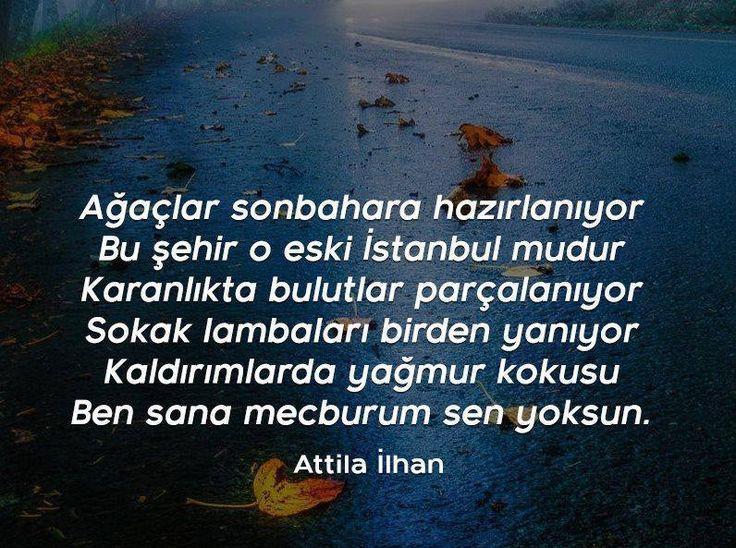 Ağaçlar sonbahara hazırlanıyor  Bu şehir o eski İstanbul mudur  Karanlıkta bulutlar parçalanıyor  Sokak lambaları birden yanıyor  Kaldırımlarda yağmur kokusu  Ben sana mecburum sen yoksun.   - Attila İlhan / Ben Sana Mecburum  #sözler #anlamlısözler #güzelsözler #manalısözler #özlüsözler #alıntı #alıntılar #alıntıdır #alıntısözler #şiir #edebiyat