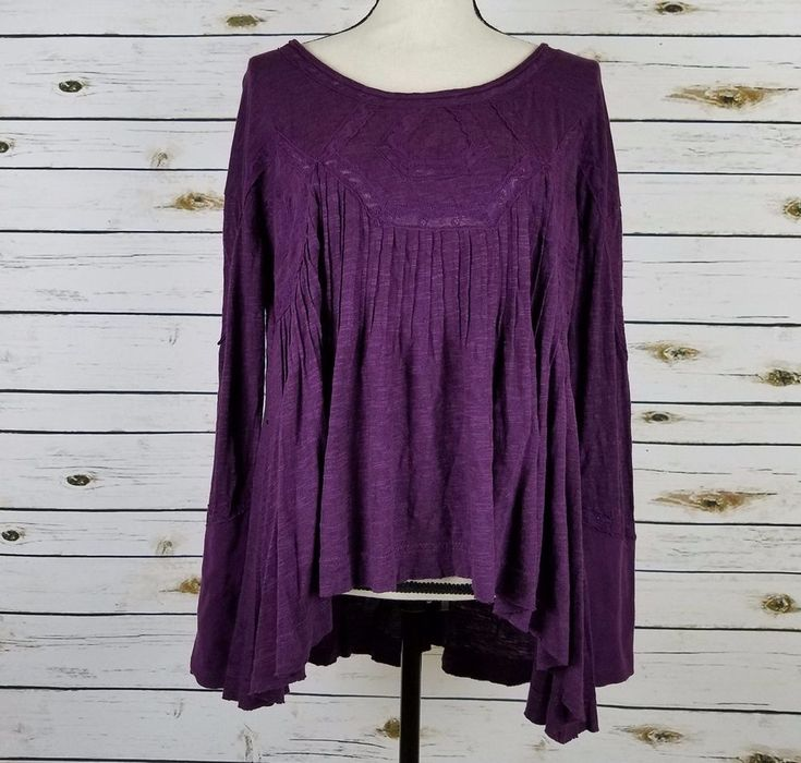 Free People New Hope Tunic Top Small Womens Purple Lace Babydoll Keyhole Boho #FreePeople #Tunic #Casual