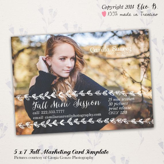 5x7 Photography Marketing Card Template - Fall Template - Photoshop Template - M006 - instant download  SHOP AT: etsy.com/shop/eleob SEARCH WITH THE CODE   Pictures by Giorgia Gonzo Photography  Model Mirela