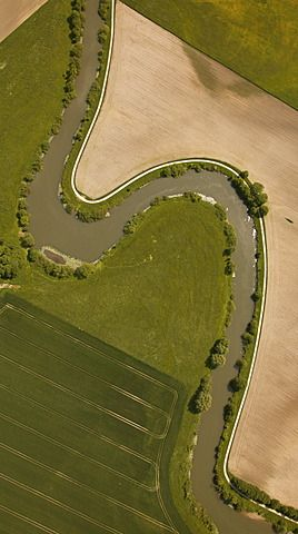 Aerial view, meandering River Lippe at Hamm-Werries, Ruhr Area, North Rhine-Westphalia, Germany - photo by Robert Harding
