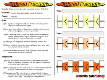 Ordered Fractions: Compare and Order Fractions Game