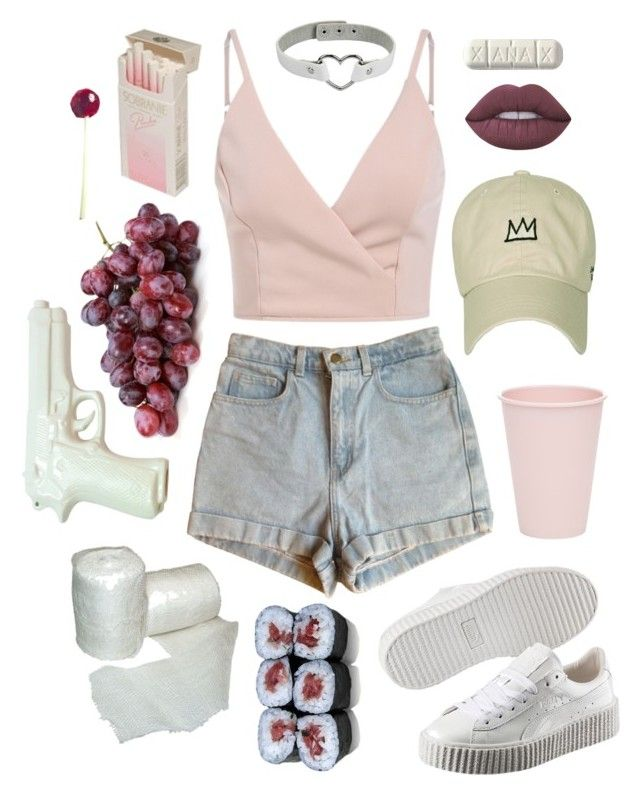 """she talks too much"" by poxiph ❤ liked on Polyvore featuring American Apparel, Puma, Lime Crime, Bloomingville, ZENTS, Jura, jeanshorts, denimshorts and cutoffs"