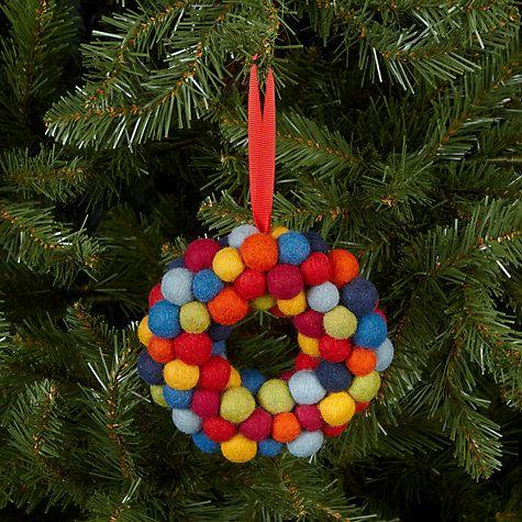 Buy Felt So Good Mini Christmas Wreath Tree Decoration, Multi Online at johnlewis.com
