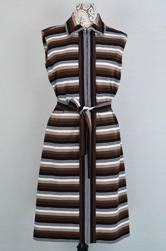 1970s brown stripe mod dress  1970s mod by 86CharlotteStreet, $55.00