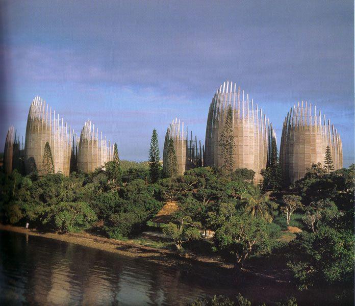 Jean Marie Tjibaou Cultural Centre by Renzo Piano, in Nounea, New Caledonia. 1998.