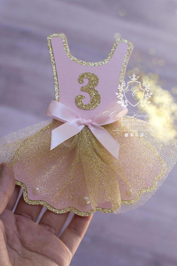 Pink and Gold Tutu 1st Birthday Invite Ballerina Invitation