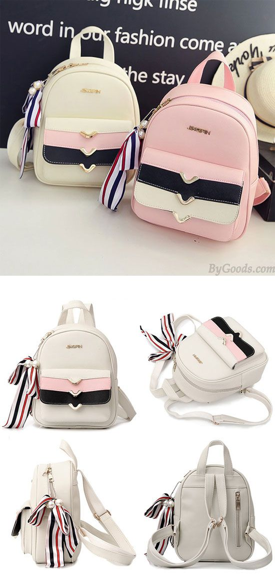 Lovely PU Colorful Stripes Flap Decorative Backpack Street Style Small School Backpack for big sale! #pu #Backpack #stripe #bag #school