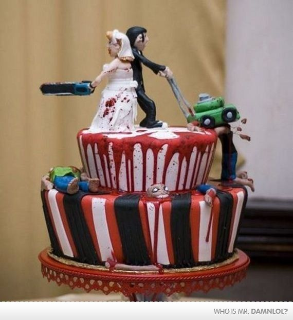 Zombie Apocalypse wedding cake!