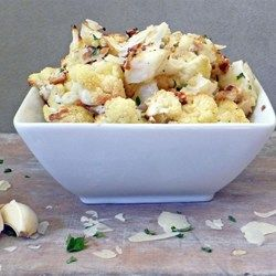 Roasted Garlic Cauliflower - Allrecipes.com We're all toldto eat 5 servings/day yet, few ever do (espescially me!) Maybe these will help!!