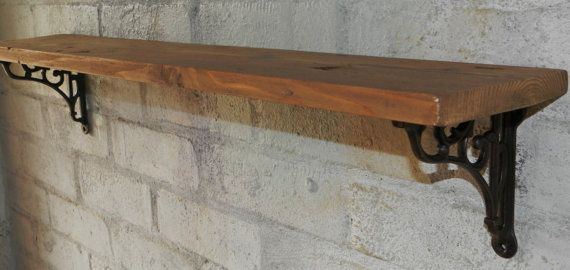 Handmade Reclaimed Solid Wood ECO Cottage chic Country style shelf with brackets