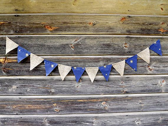 Flag Banners - Navy Blue Brown Banner Night Party Triangle Banner - Bunting Flag Banner - Party Decoration - Baby Shower Banner - Boy Banner