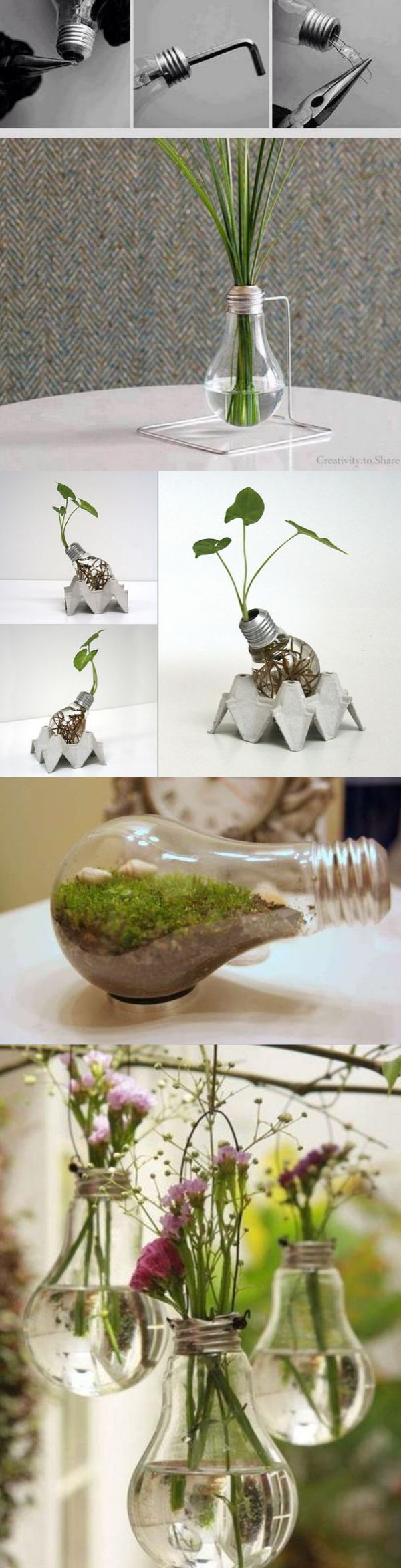 Mini-macetas hechas con bombillas recicladas: http://www.labioguia.com/macetas-con-focos-bombimacetas/