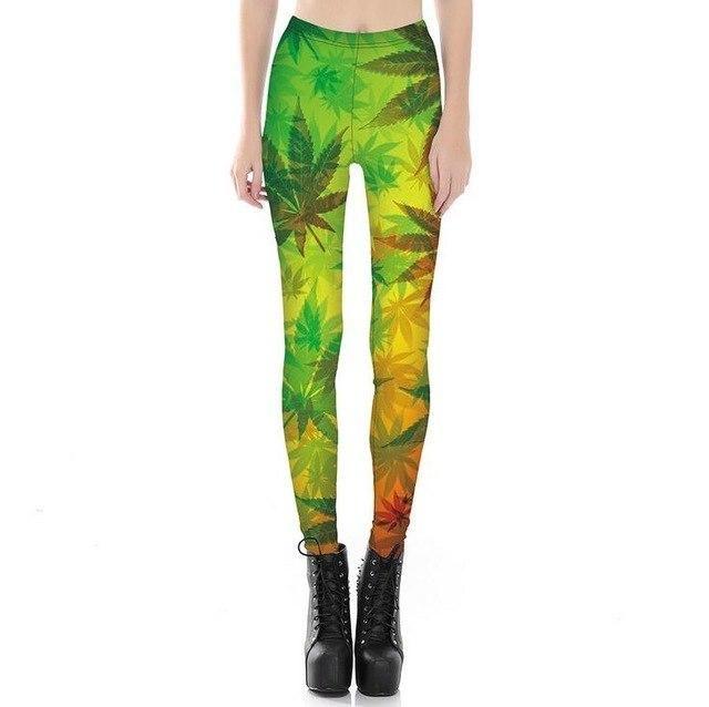 Cuhacki 3D Print Leggings Women High Waist Leggings Trousers Hip Hop Fitness Legging Woman Pants Printing Leggins K194 Leaves M