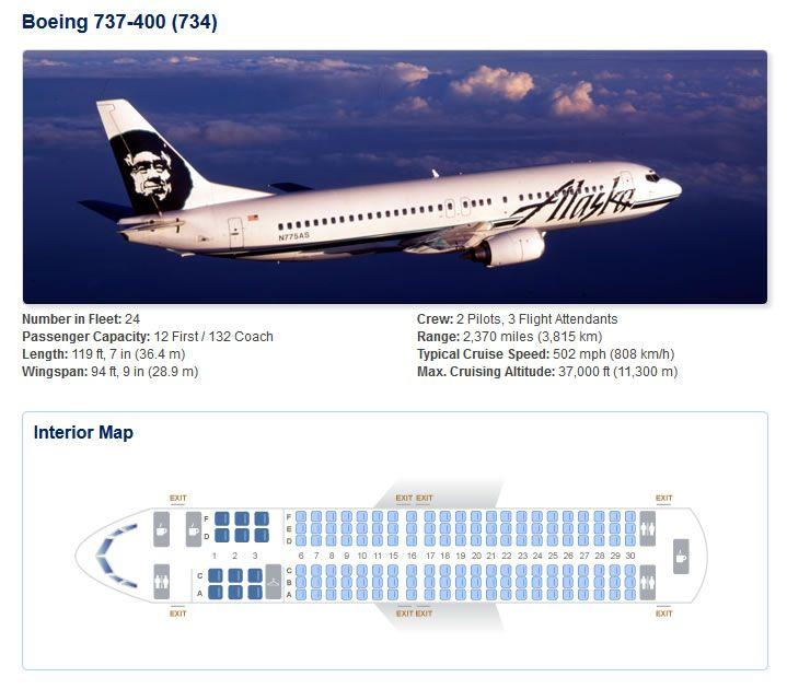 ALASKA AIRLINES BOEING 737-400 AIRCRAFT SEATING CHART | Airline