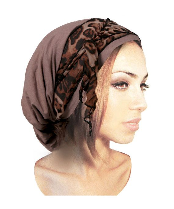 Khaki Brown Black Pre-Tied Headscarf Soft Cotton by ShariRoseShop
