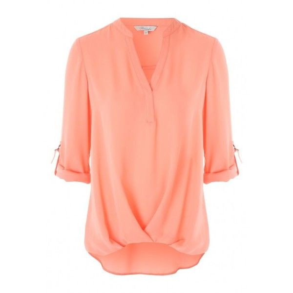 Womens Peach Wrap Front Blouse ($6.52) ❤ liked on Polyvore featuring tops, blouses, sleeve blouse, red v neck blouse, v neck blouse, peach top and wrap front top