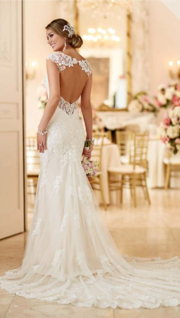 Lace satin bridal gown from Stella York