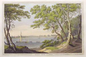 View up the River from Milbank. by Joseph Constantine Stadler after Joseph Faringdon
