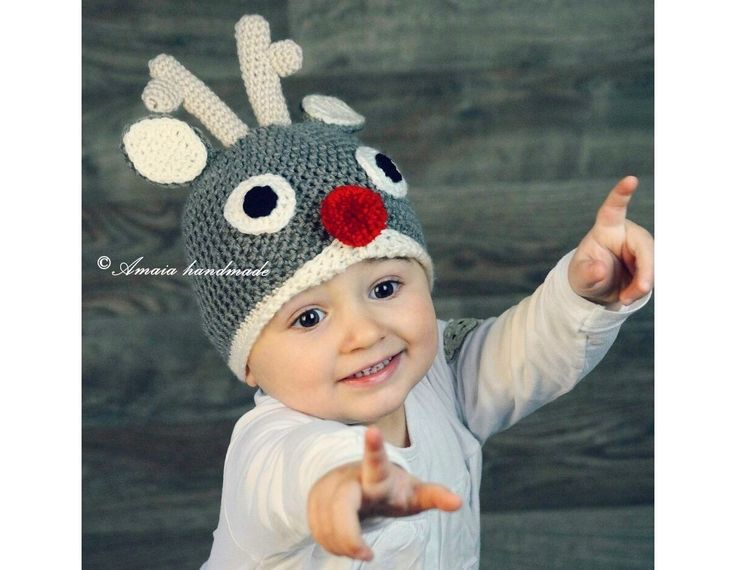 Baby christmas hat, Reindeer Hat, Crochet Reindeer Hat, baby's first Christmas, Christmas photo prop, newborn Christmas hat, Rudolph hat by Amaiahandmade on Etsy
