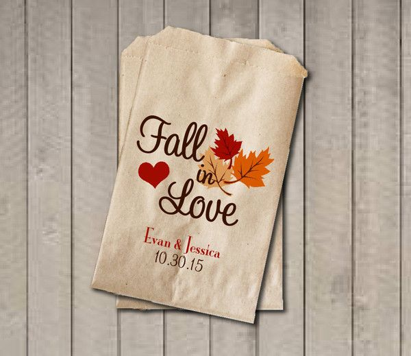 "These ""Fall in Love"" wedding favor bags will be a cute addition your fall wedding, engagement party, or bridal shower. Sold in sets of 20. They're perfect for y"