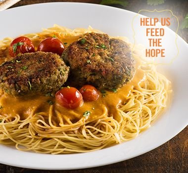 Vermicelli with Green Lentil Patties and Curry Sauce | For every Facebook share or download of our Pasta to the Rescue cookbook or its recipes, we're donating portions of pasta to food banks across Canada. Visit https://www.catelli.ca/en/feed-the-hope/ to learn more.