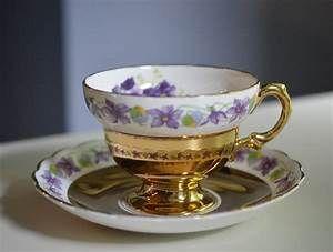 Tea Cup and Saucer Rosina Violets Gold Bone China