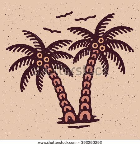 Traditional tattoo flash palms, Vector illustration on grange texture background
