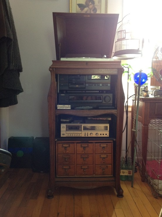 Vintage Record player cabinet repurposed into a modern stereo cabinet ...