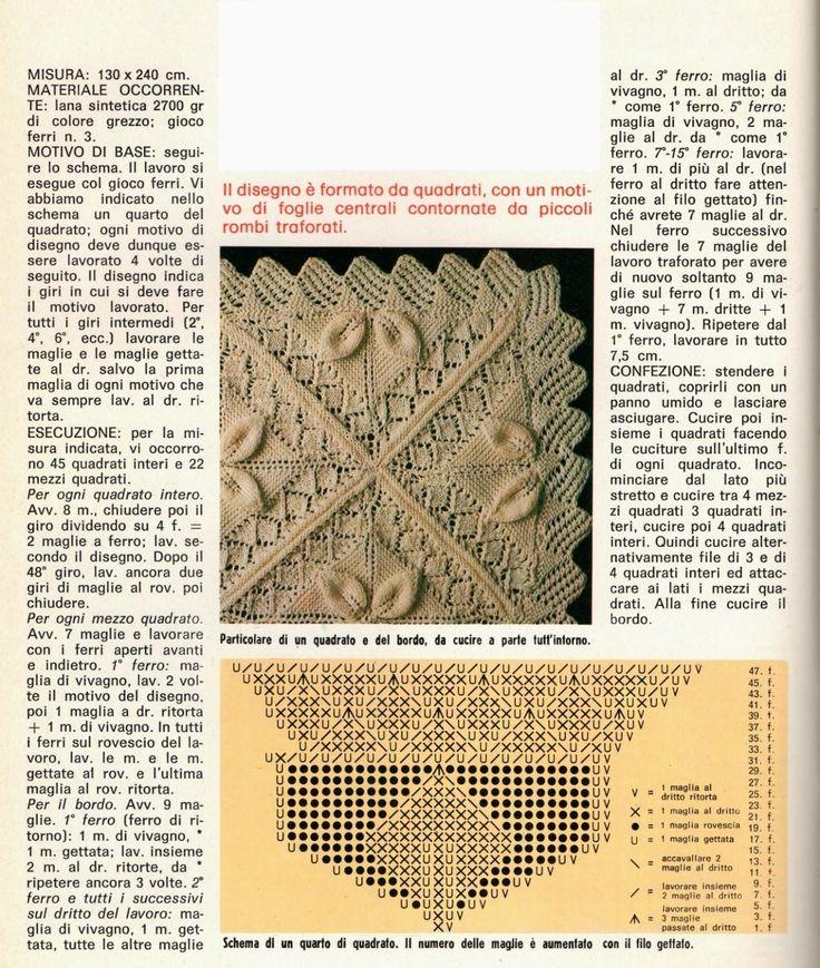 La coperta di lana bianca il cui motivo è lavorato come un vecchio pizzo è realizzata con i ferri ed è formata da quadrati, con un motivo di foglie centrali contornate da piccoli rombi traforati.