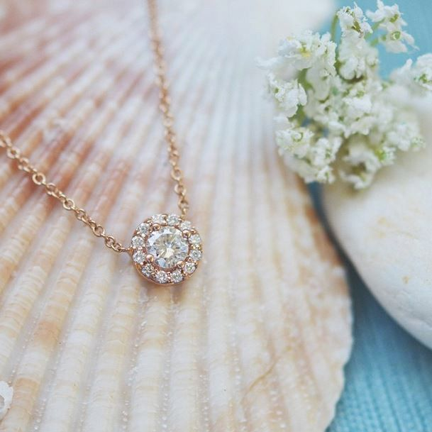 This halo necklace is beautiful in rose gold.