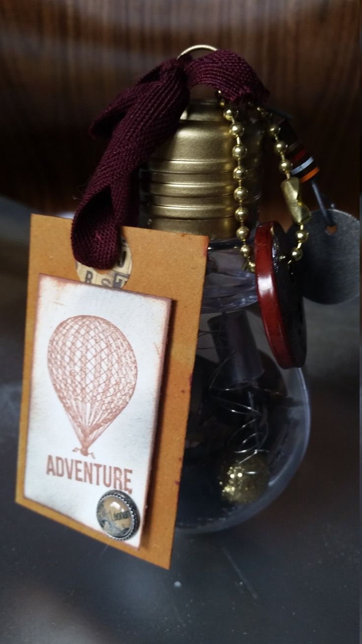 Eclectic Adventure Steampunk Edwardian Style Acrylic Light Bulb Desk Gadget Unique Gift Piece with Free Greeting Card by Eclecticat444Decor on Etsy