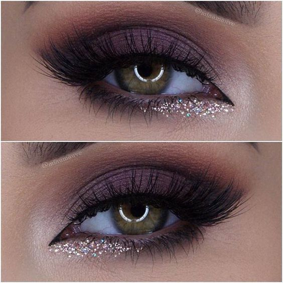 Purple Smokey Eye with a Pop of Glitter: