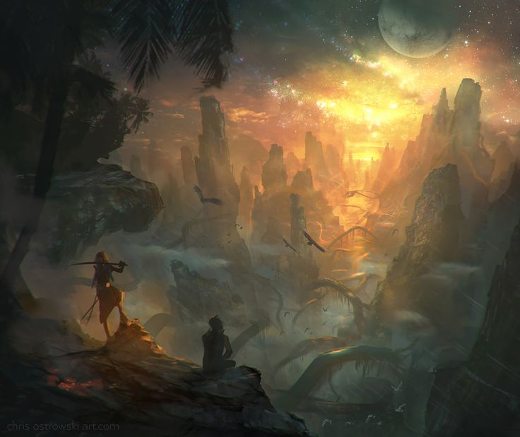 Untouched Lands by najtkriss sunset cliff mountains landscape location environment architecture | Create your own roleplaying game material w/ RPG Bard: www.rpgbard.com | Writing inspiration for Dungeons and Dragons DND D&D Pathfinder PFRPG Warhammer 40k Star Wars Shadowrun Call of Cthulhu Lord of the Rings LoTR + d20 fantasy science fiction scifi horror design | Not our art: click artwork for source