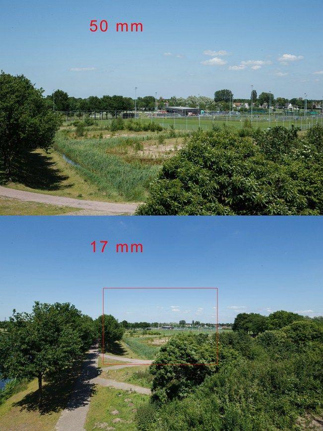 Het verschil tussen een standaard brandpunt (50mm) en een groothoek