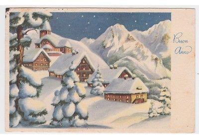 cartolina fp auguri vintage PMCE 328 notte neve paesaggio di montagna chiesa