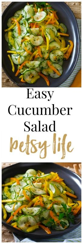 Easy Cucumber Salad. This healthy recipe is the perfect dinner side dish all summer long.