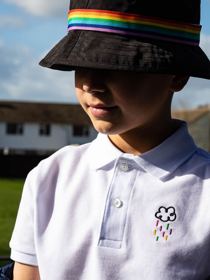 208d43fe7 Organic cotton children's polo shirt with happy raincloud embroidery. Made  in manchester #smallfry #raincloud #cute #colourful #streetwear #rainbow ...