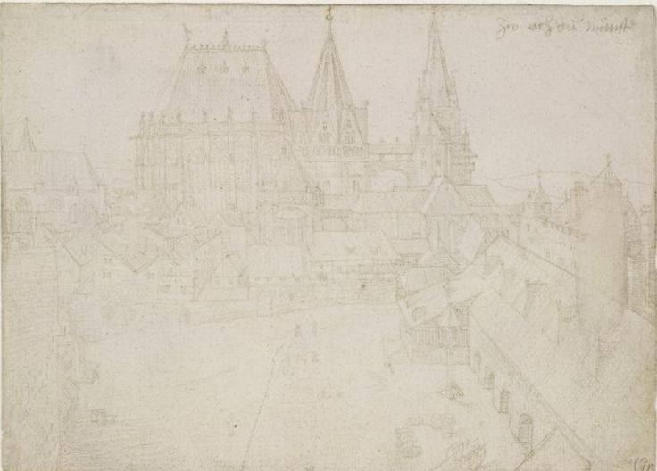 Aachen Cathedral the Katschhof. Drawing by Albrecht Durer, The cathedral at Aachen, formerly in the artist's silverpoint sketch-book; view from a height overlooking a courtyard of houses, with a cathedral beyond. 1520-1 Metalpoint, on (faded) pink prepared paper