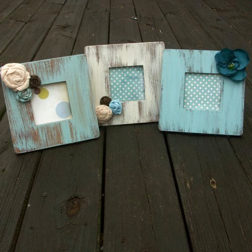 Set of 3 Rustic picture frames. Wooden distressed frames on Etsy, $35.00