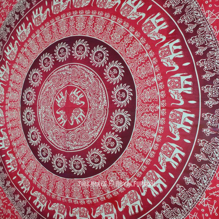 Red Elephant Sun Bohemian Ombre Wall Tapestry Bedding