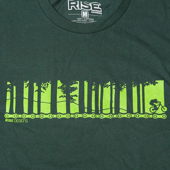 Biking Through the Trees Mountain Biking T-Shirt by risedesigns