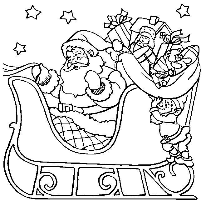 santa sleigh ride christmas coloring page | Christmas ...