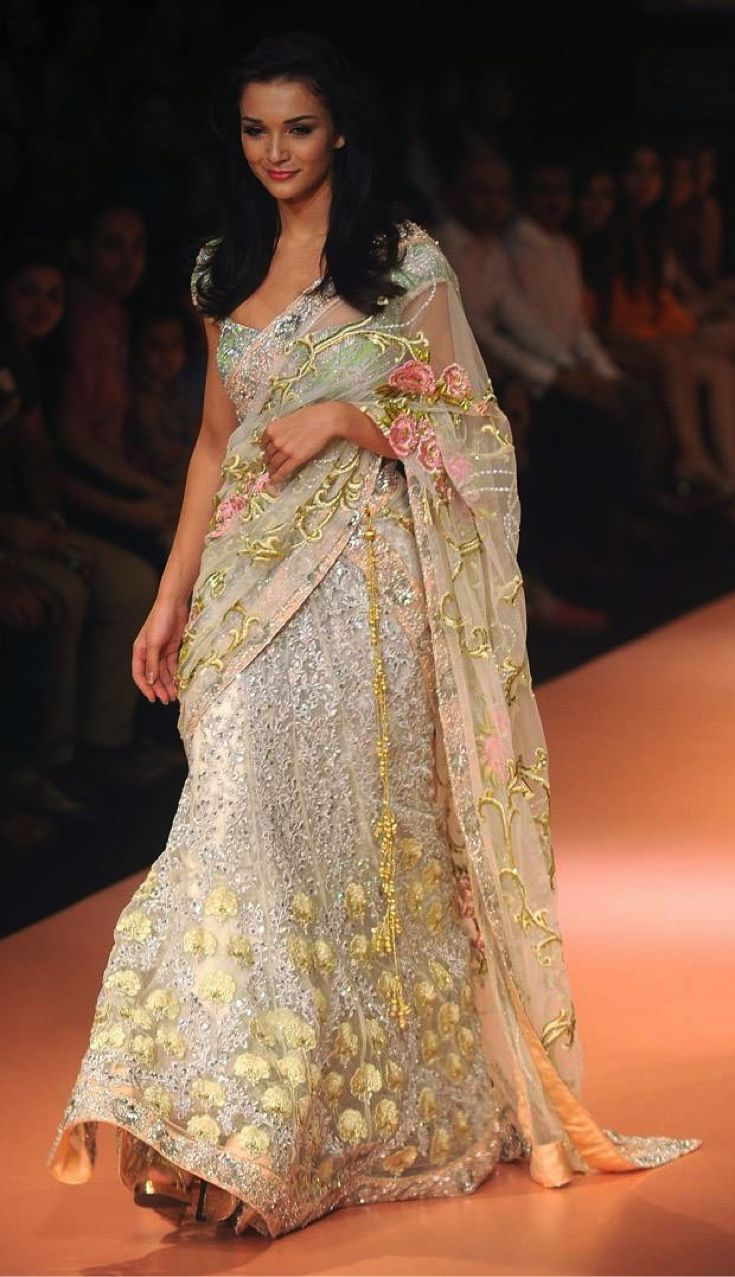 Elegant silver lehenga, with soft lime and peach embroidery. <3 #bridalwear #indianwedding